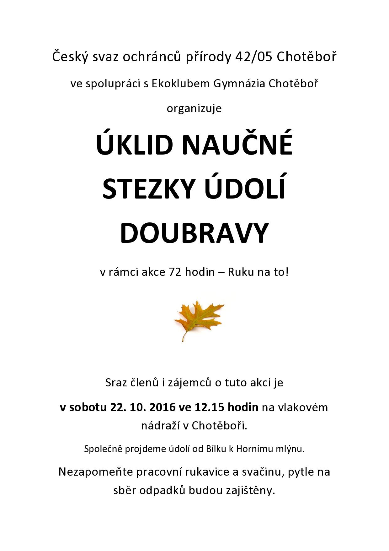 úklid naučné stezky Údolí Doubravy